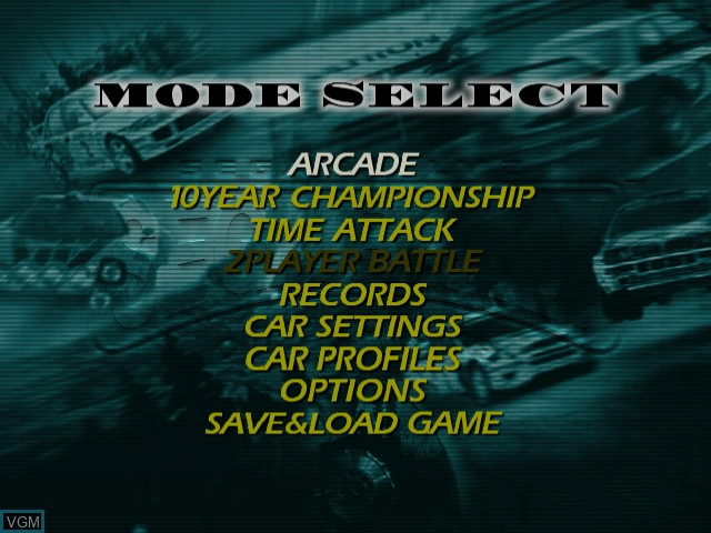Menu screen of the game Sega Rally 2 on Sega Dreamcast