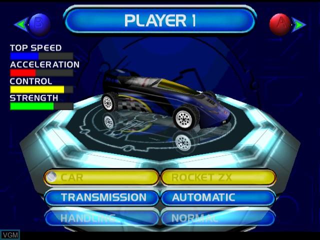 Menu screen of the game San Francisco Rush 2049 on Sega Dreamcast