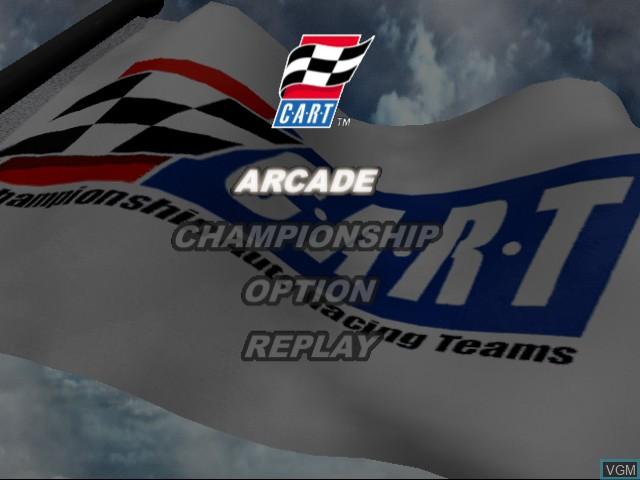 Menu screen of the game Flag to Flag on Sega Dreamcast