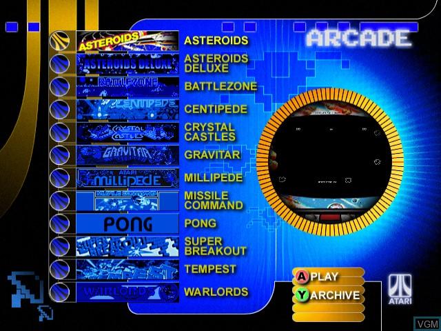 Menu screen of the game Atari Anniversary Edition on Sega Dreamcast