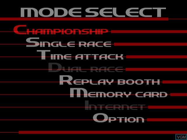 Menu screen of the game Sega GT - Homologation Special on Sega Dreamcast