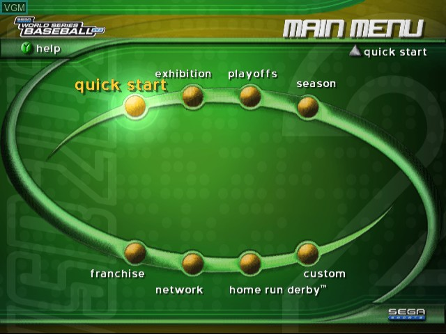 Menu screen of the game World Series Baseball 2K2 on Sega Dreamcast