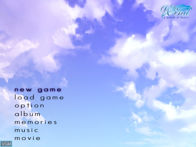 Menu screen of the game Wind - A Breath of Heart on Sega Dreamcast