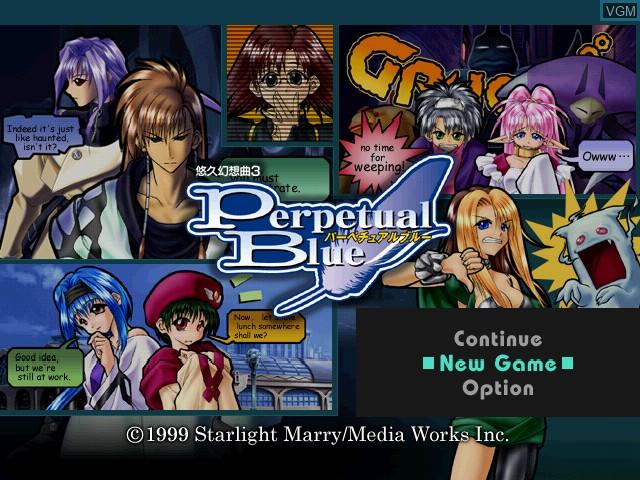 Menu screen of the game Yuukyuu Gensoukyoku 3 - Perpetual Blue on Sega Dreamcast