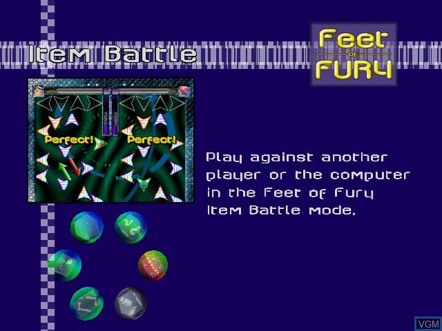 Menu screen of the game Feet of Fury on Sega Dreamcast