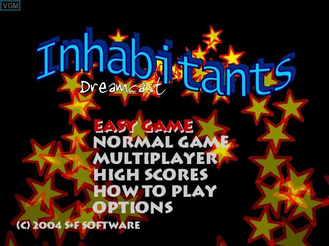 Menu screen of the game Inhabitants on Sega Dreamcast