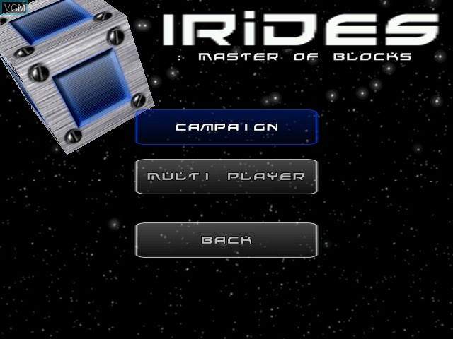Menu screen of the game Irides - Master of Blocks on Sega Dreamcast