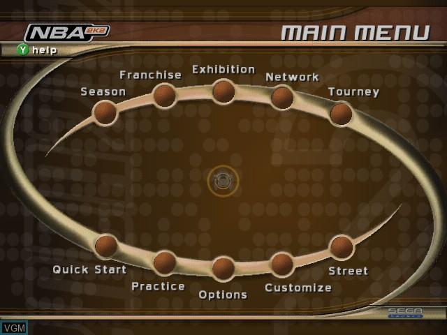 Menu screen of the game NBA 2K2 on Sega Dreamcast