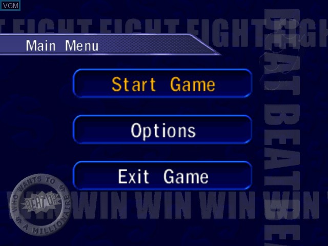 Menu screen of the game Who Wants to Beat Up a Millionaire on Sega Dreamcast