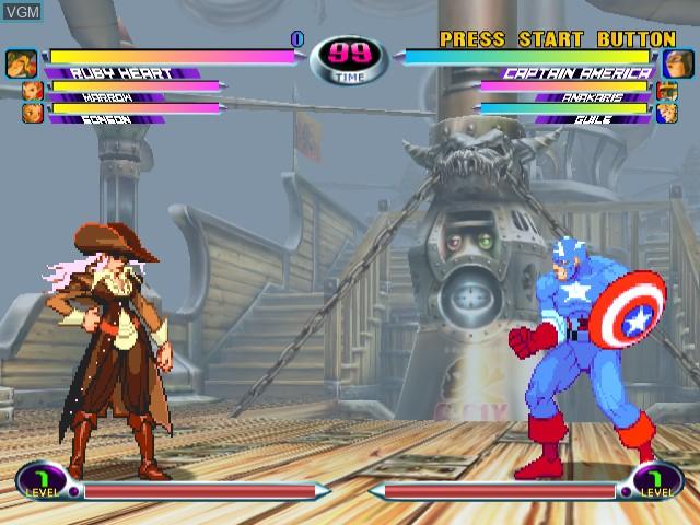 In-game screen of the game Marvel vs. Capcom 2 on Sega Dreamcast