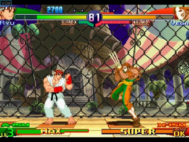 In-game screen of the game Street Fighter Alpha 3 on Sega Dreamcast