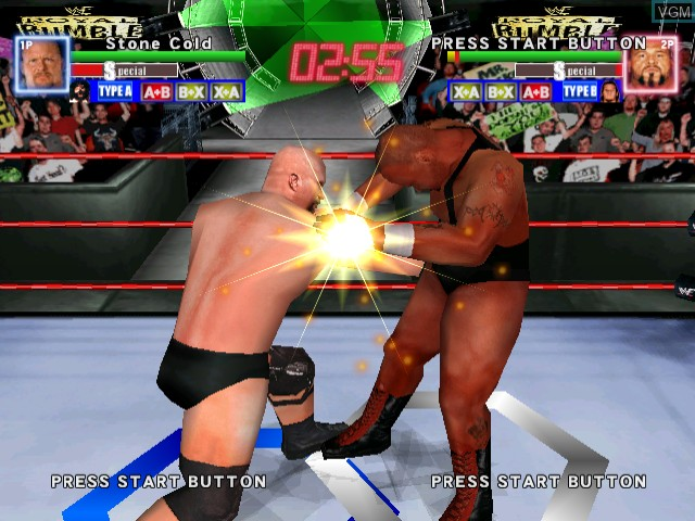 In-game screen of the game WWF Royal Rumble on Sega Dreamcast