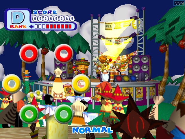 In-game screen of the game Samba De Amigo Ver. 2000 on Sega Dreamcast