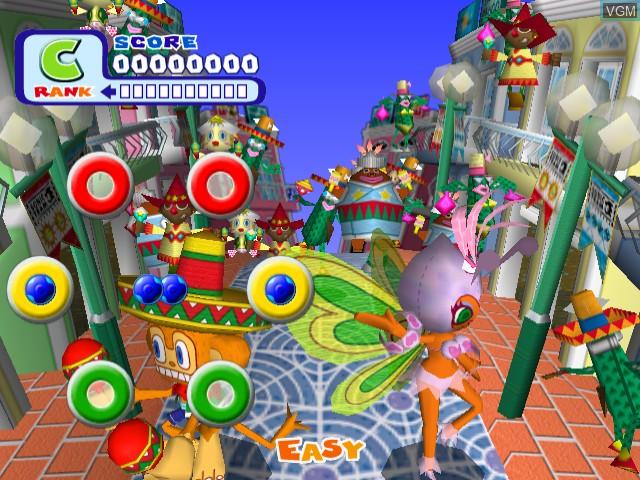 In-game screen of the game Samba de Amigo on Sega Dreamcast