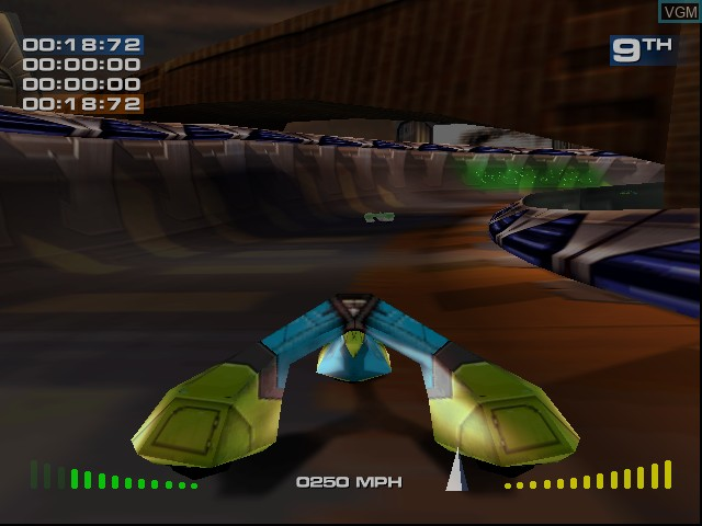In-game screen of the game Magforce Racing on Sega Dreamcast