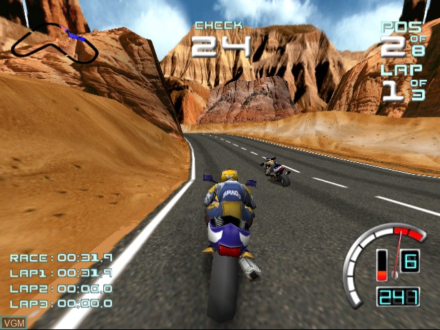 In-game screen of the game Suzuki ALSTARE Extreme Racing on Sega Dreamcast