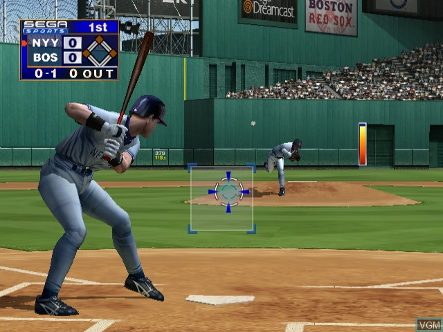 In-game screen of the game World Series Baseball 2K1 on Sega Dreamcast