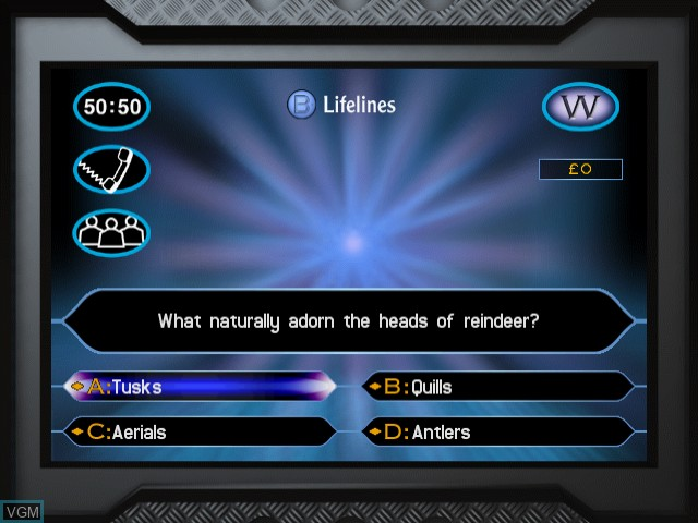 In-game screen of the game Who Wants to Be a Millionaire on Sega Dreamcast