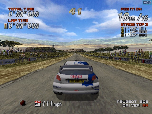 In-game screen of the game Sega Rally 2 on Sega Dreamcast