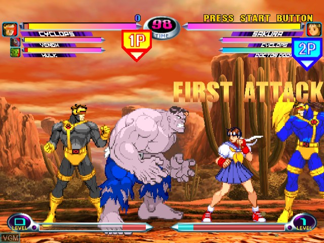 In-game screen of the game Marvel vs. Capcom 2 - New Age of Heroes on Sega Dreamcast