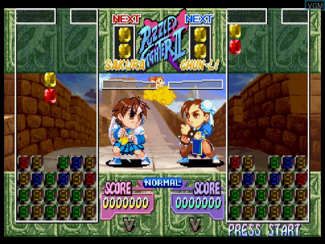 In-game screen of the game Super Puzzle Fighter IIX for Matching Service on Sega Dreamcast