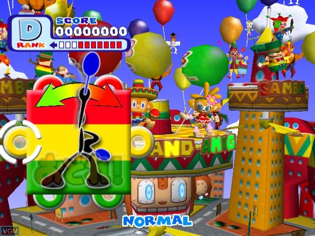 In-game screen of the game Samba de Amigo Ver. 2000 on Sega Dreamcast