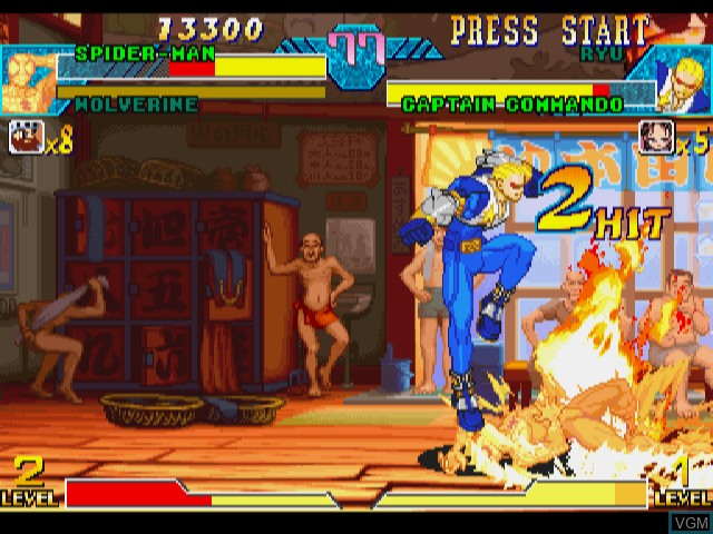 In-game screen of the game Marvel vs. Capcom - Clash of Super Heroes on Sega Dreamcast