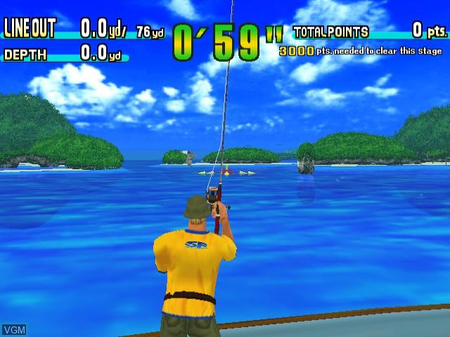 In-game screen of the game Sega Marine Fishing on Sega Dreamcast