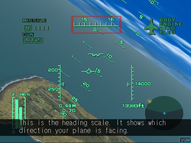 In-game screen of the game AeroWings 2 - Airstrike on Sega Dreamcast