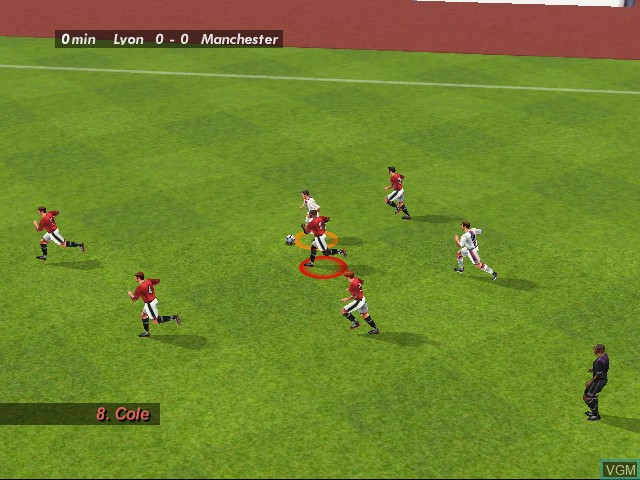 In-game screen of the game UEFA Striker on Sega Dreamcast