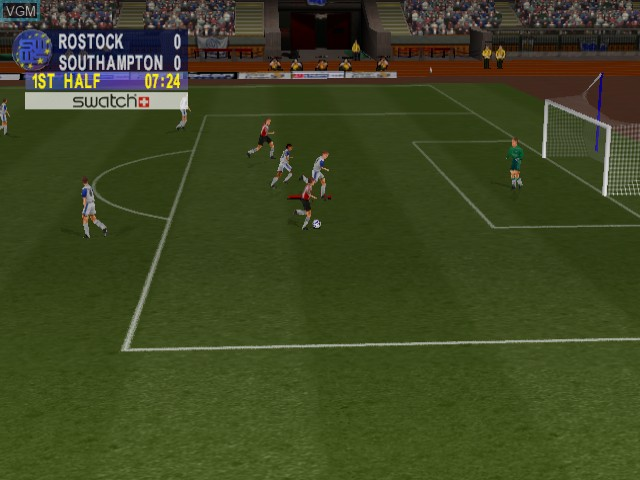 In-game screen of the game Sega Worldwide Soccer 2000 - Euro Edition on Sega Dreamcast