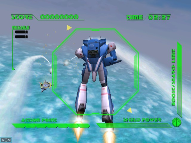 In-game screen of the game Macross M3 on Sega Dreamcast