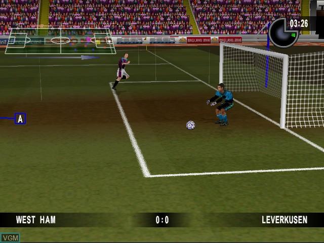 In-game screen of the game Sega Worldwide Soccer 2000 on Sega Dreamcast