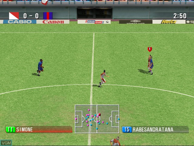 In-game screen of the game 90 Minutes - Sega Championship Football on Sega Dreamcast