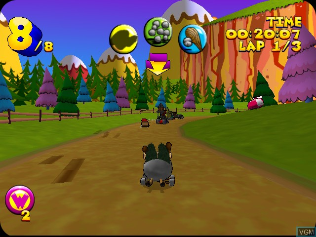 In-game screen of the game Wacky Races on Sega Dreamcast