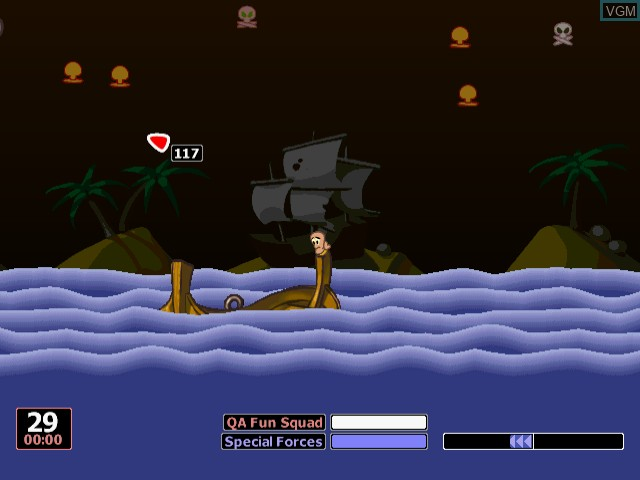 In-game screen of the game Worms World Party on Sega Dreamcast
