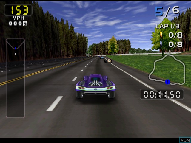 In-game screen of the game San Francisco Rush 2049 on Sega Dreamcast