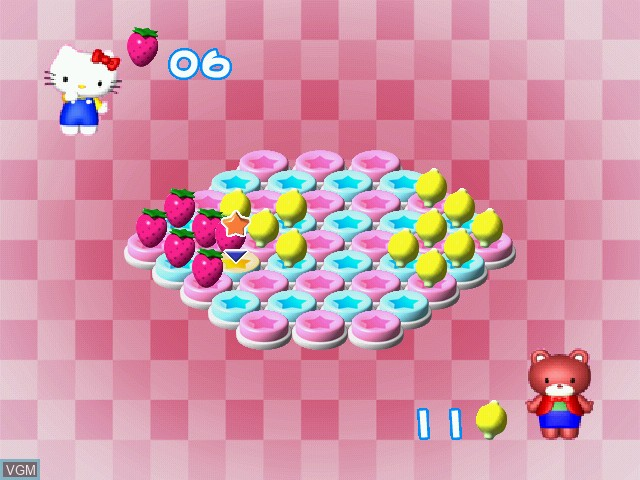 In-game screen of the game Hello Kitty no Lovely Fruit Park on Sega Dreamcast