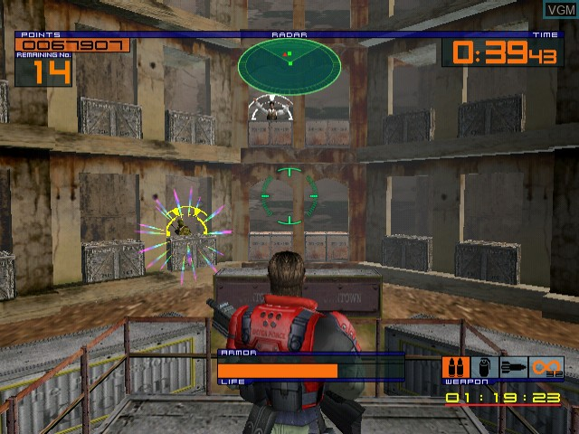 In-game screen of the game Outtrigger on Sega Dreamcast