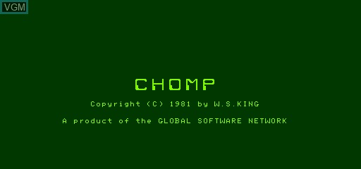 Title screen of the game Chomp on Exidy Sorcerer