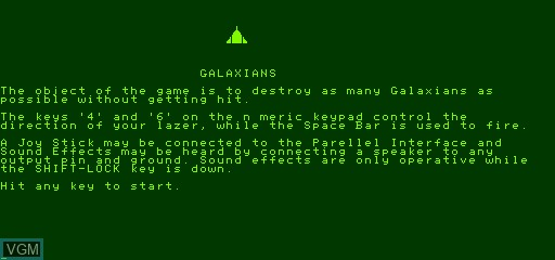 Title screen of the game Galaxian on Exidy Sorcerer