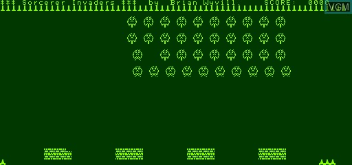 Title screen of the game Invaders on Exidy Sorcerer