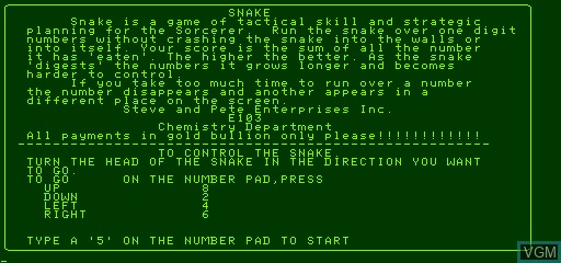Title screen of the game Snake on Exidy Sorcerer