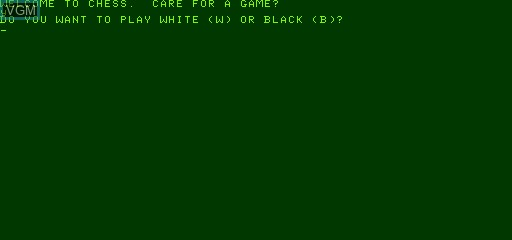 Menu screen of the game Chess on Exidy Sorcerer