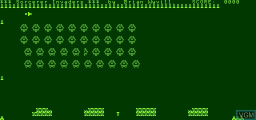 In-game screen of the game Invaders on Exidy Sorcerer