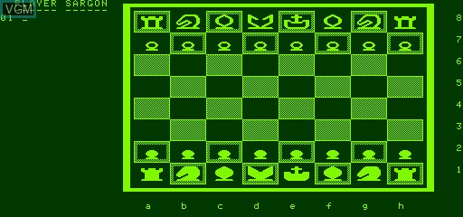 In-game screen of the game Chess on Exidy Sorcerer