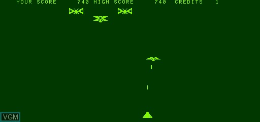 In-game screen of the game Galaxian on Exidy Sorcerer