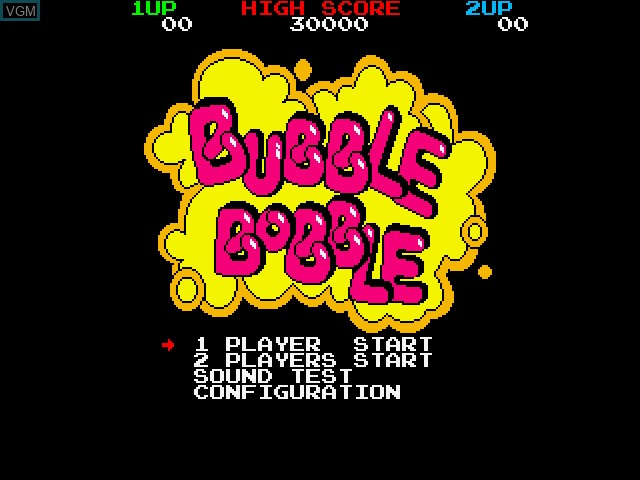 Title screen of the game Bubble Bobble on Fujitsu FM Towns
