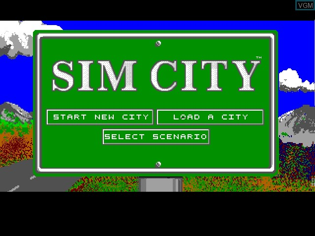 Title screen of the game Sim City on Fujitsu FM Towns