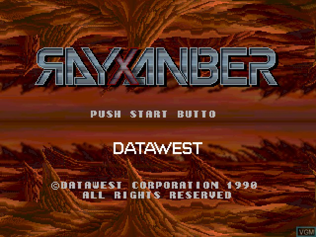 Title screen of the game Rayxanber on Fujitsu FM Towns